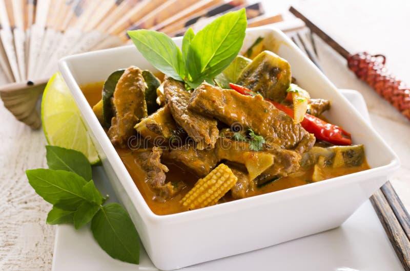 Curry rojo tailandés con carne de vaca fotografía de archivo libre de regalías