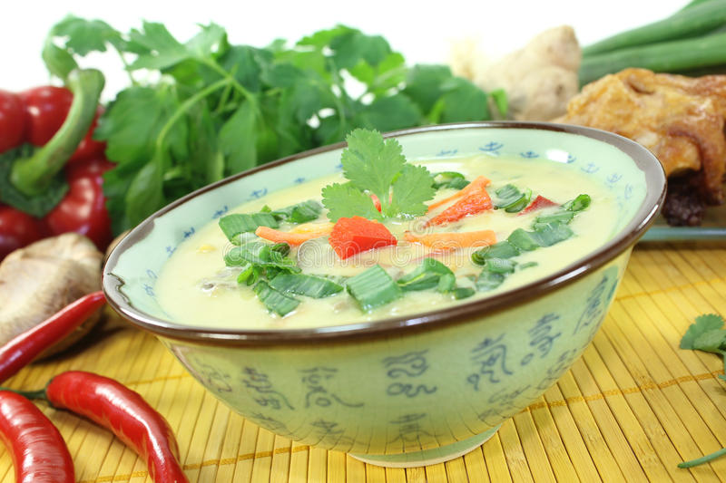 Curry soup with chicken and Shiitake mushrooms royalty free stock image