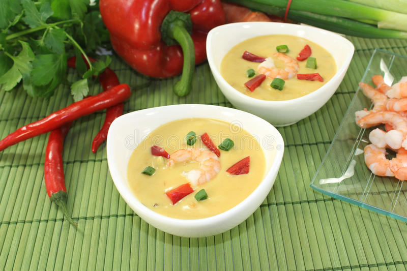 Curry Soup with shrimp and vegetables. Curry Soup with shrimp, bell pepper, leeks and coconut milk royalty free stock photos
