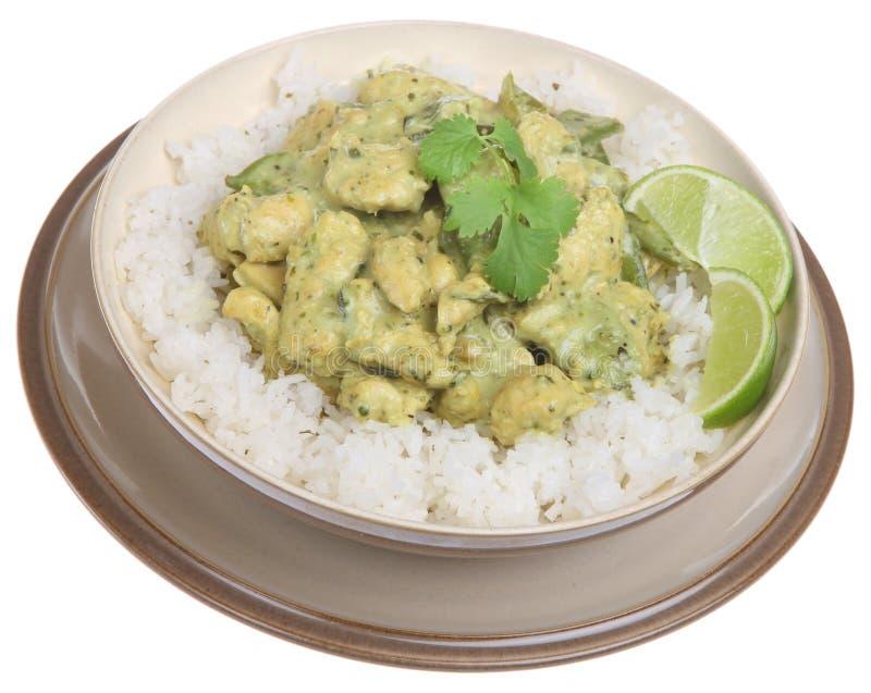 Curry verde tailandese del pollo fotografia stock