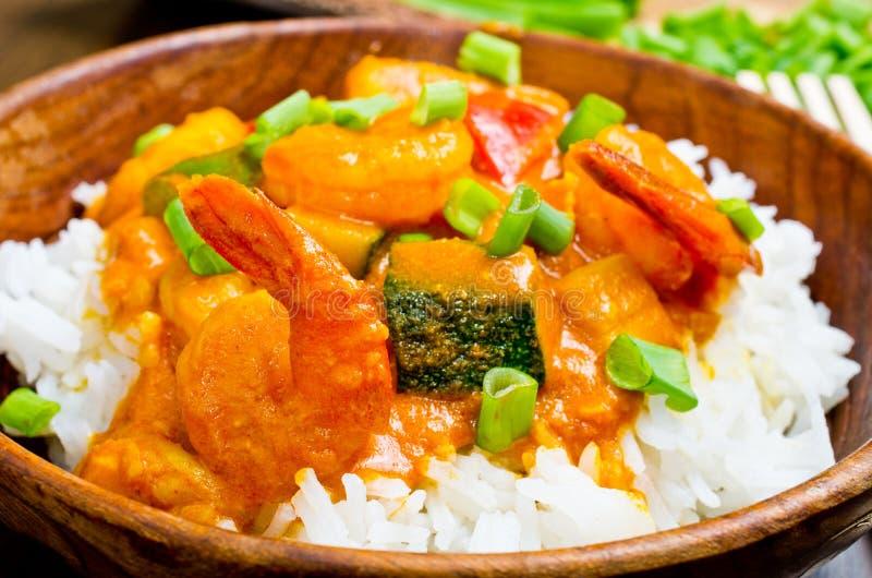 Curry z krewetkami, warzywami i szczypiorkami, obraz stock