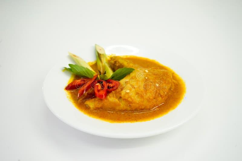 Curryhuhn auf der Platte Asiatische Delikatesse lokalisiert auf weißem Hintergrund lizenzfreie stockfotografie