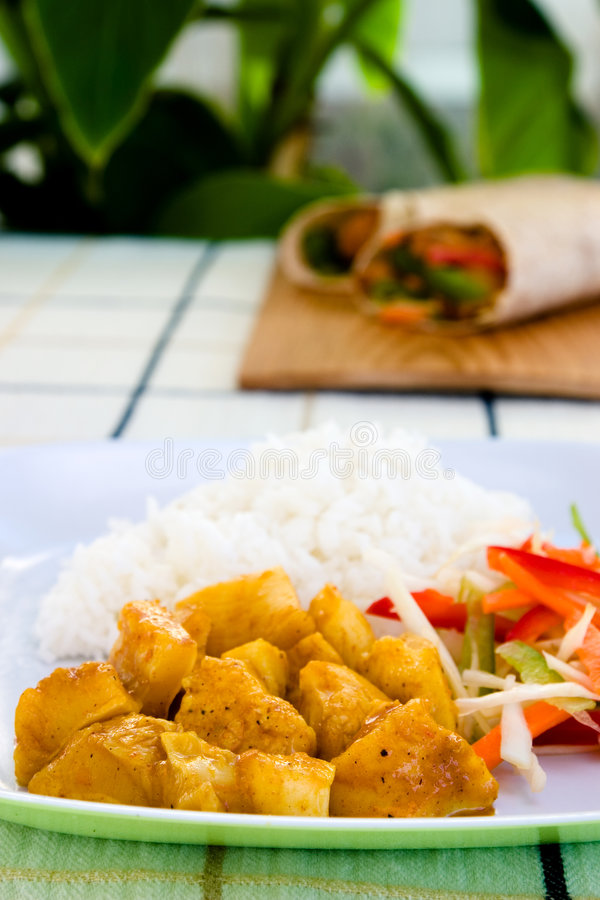 Curryhuhn mit Reis stockfotos