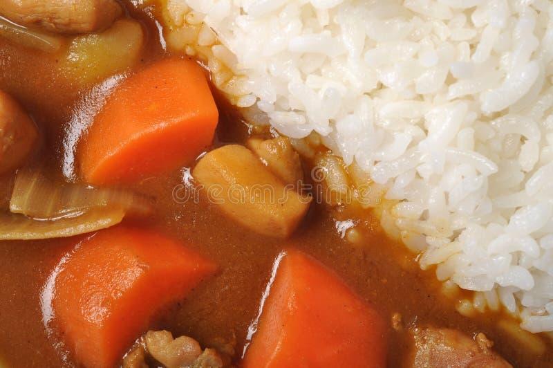 Curryhuhn mit Reis stockfoto