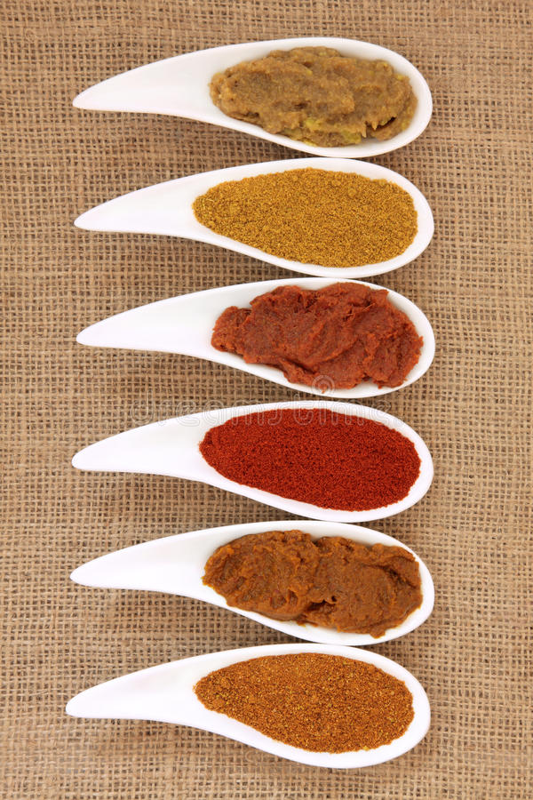 Currypulver und Paste stockfoto