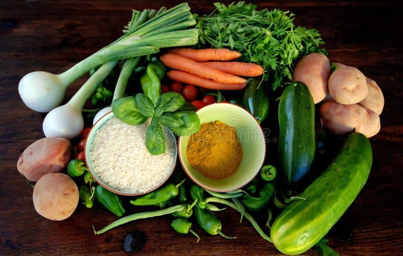 curryricegrönsaker royaltyfri foto