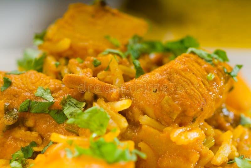 Curryrindfleischreis und -kartoffeln lizenzfreies stockbild