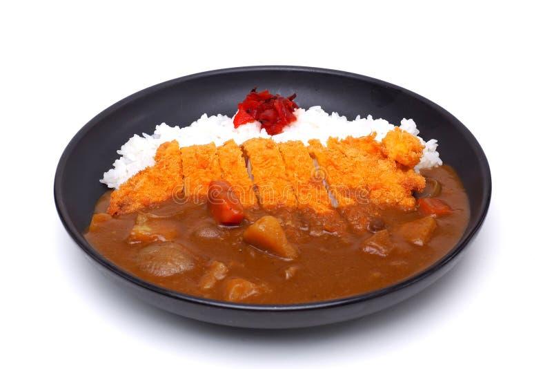 Curryris med djupa Fried Pork eller Katsu-kare, japansk stil f royaltyfria bilder