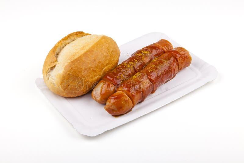 Currywurst - tysk korv arkivbilder