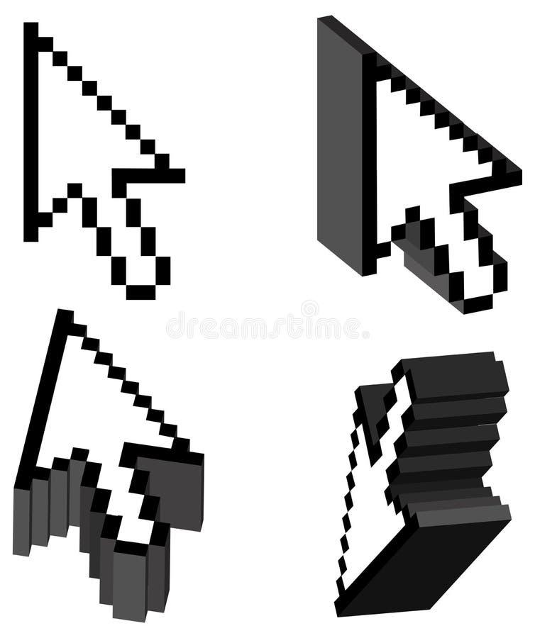 curseur de flèche du vecteur 3D illustration libre de droits