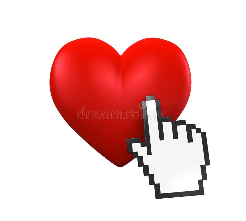 Curseur en forme de coeur et de main illustration de vecteur