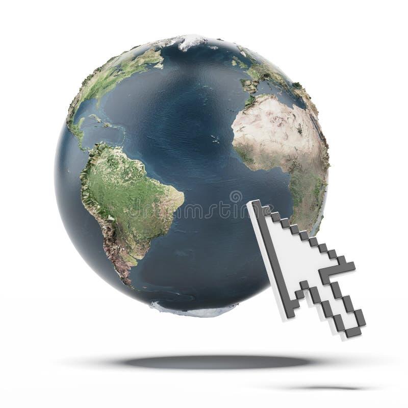 Curseur et globe. Carte de la terre fournie par la NASA illustration libre de droits