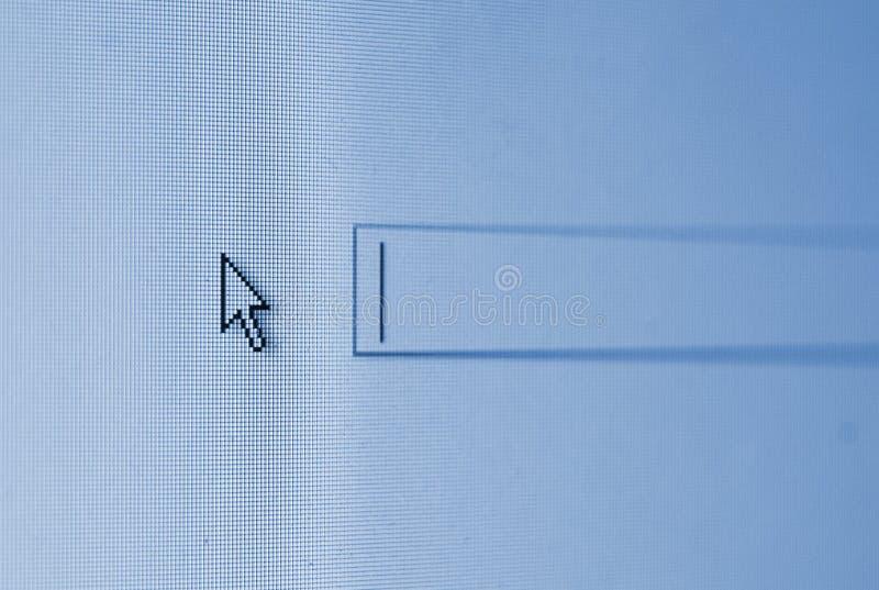 Curseur sur un écran bleu de cadre de recherche photo stock