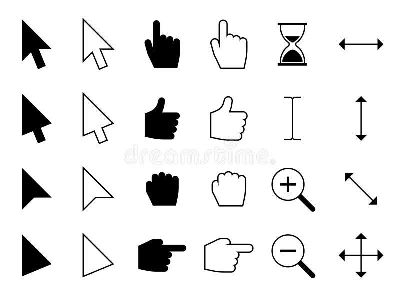 Curseurs de Web Les indicateurs de doigt de main de Digital, choisissant le clic de souris d'ordinateur et les flèches dirigent l illustration stock