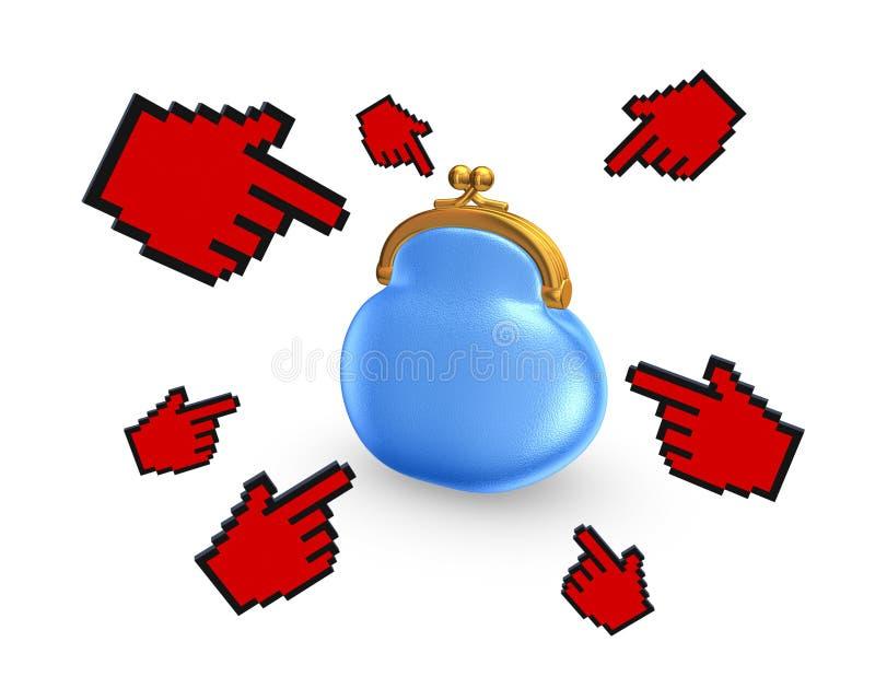 Curseurs rouges autour de bourse bleue. illustration de vecteur