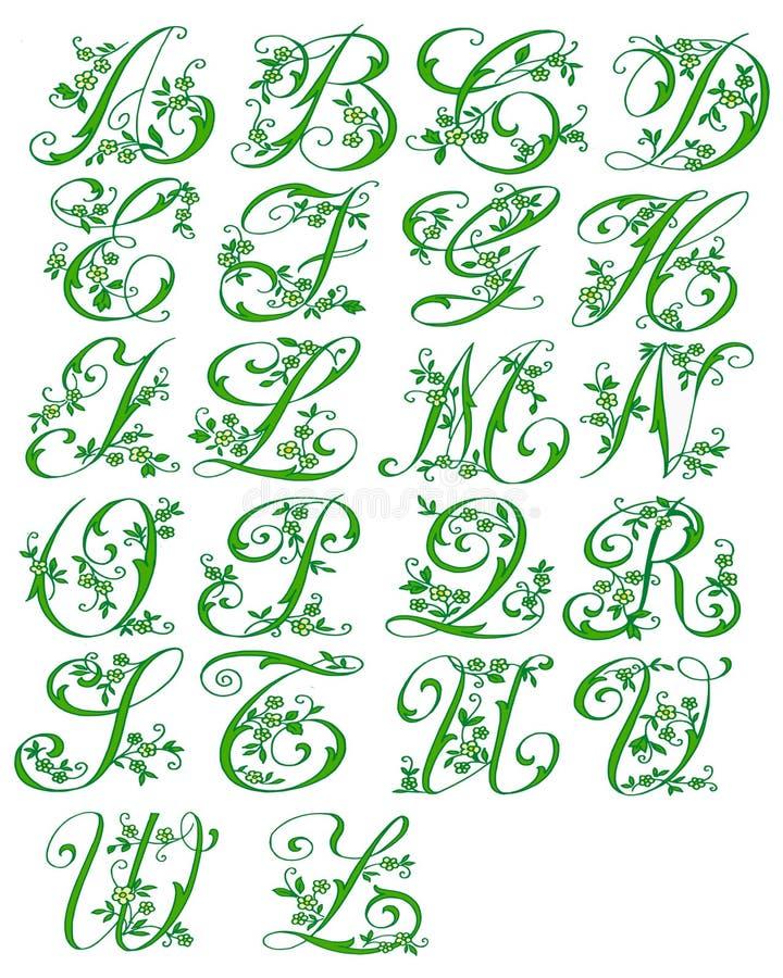 cursive blom- för alfabet vektor illustrationer