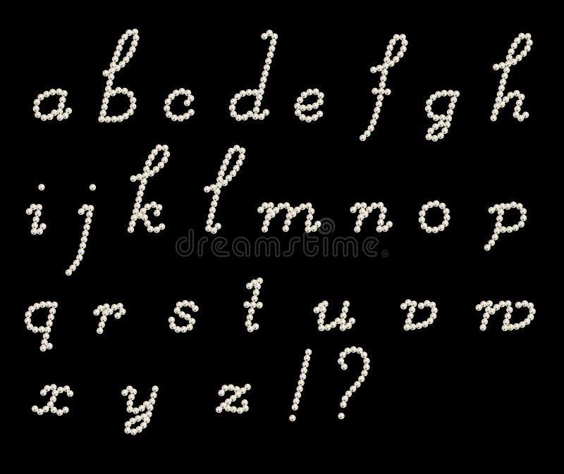 Cursive latin letters. Cursive latin alphabet on dark background vector illustration