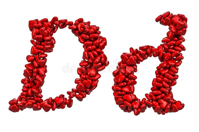 Cursive Letter D From Red Hearts, Capital And Small ...