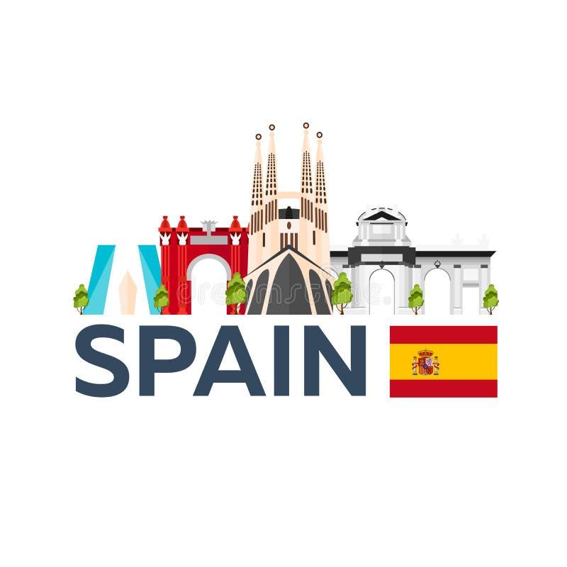 Curso à skyline da Espanha Sagrada Familia Ilustração lisa do vetor ilustração royalty free