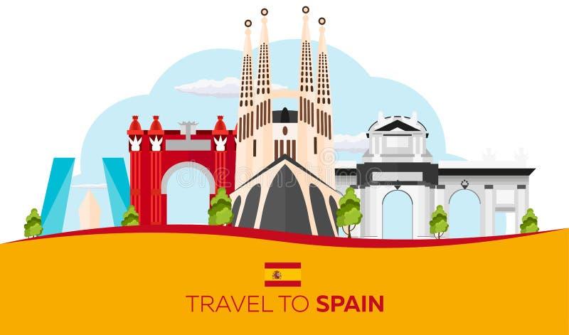 Curso à skyline da Espanha Sagrada Familia Ilustração lisa do vetor ilustração do vetor