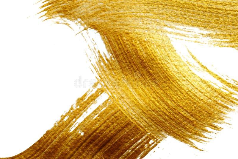 Curso abstrato do ouro com a escova de pintura acrílica no fundo branco e lugar para o texto imagens de stock