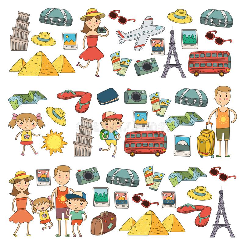 Curso ajustado do vetor da garatuja, férias, aventura Crianças com os pais que preparam-se para sua viagem Jardim de infância, es ilustração do vetor