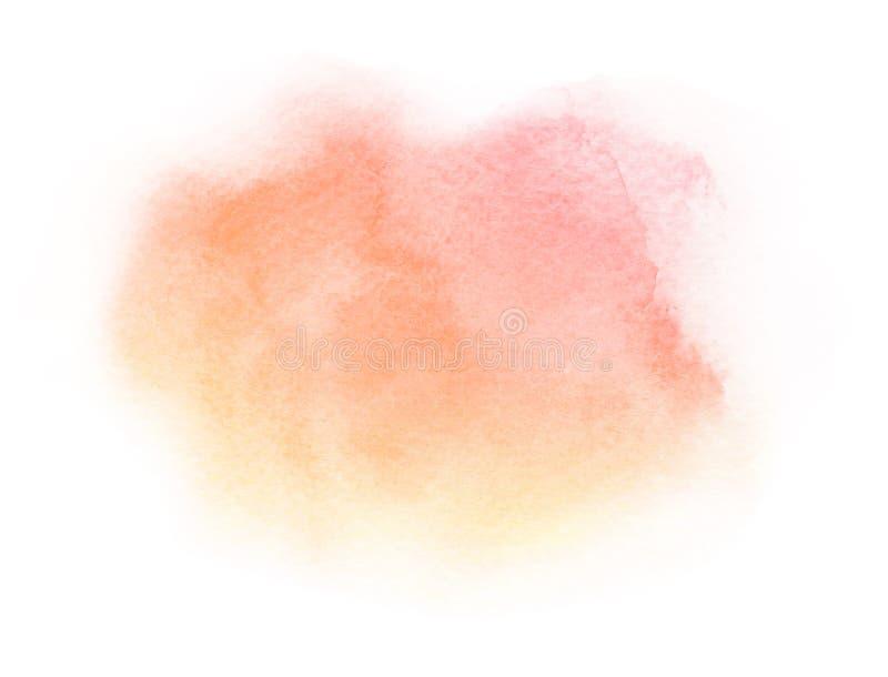 Curso alaranjado vermelho da escova do sumário artístico da aquarela isolado no fundo branco ilustração royalty free