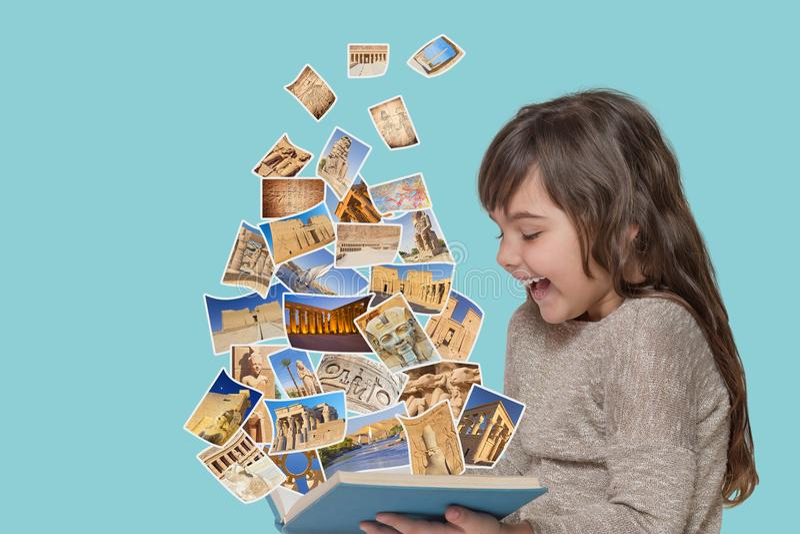 Curso ao conceito de Egito com menina bronzeada imagens de stock royalty free