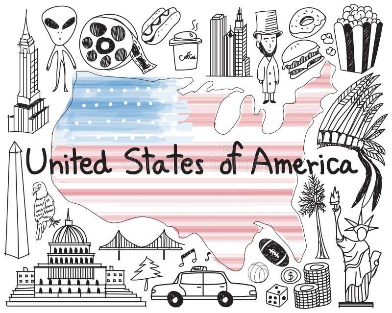Curso ao estado unido de ícone do desenho da garatuja de América ilustração stock
