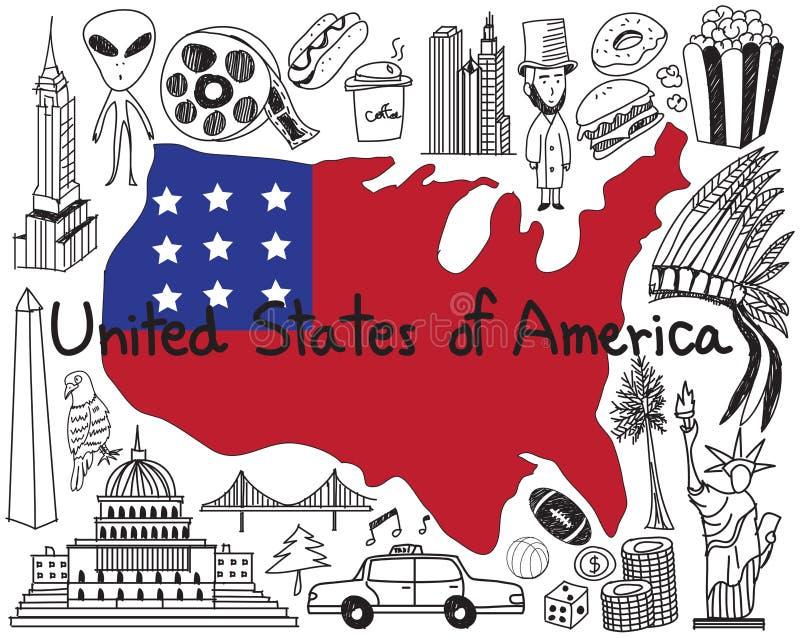 Curso ao estado unido de ícone do desenho da garatuja de América ilustração do vetor