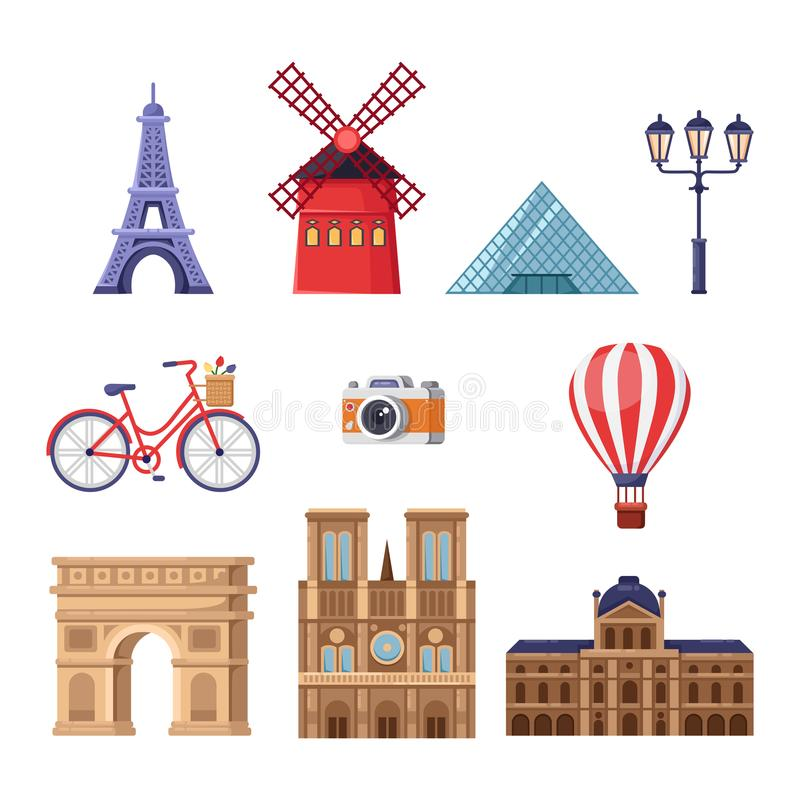 Curso aos elementos do projeto de França Ilustração dos marcos do turista de Paris Ícones isolados desenhos animados do vetor aju ilustração royalty free