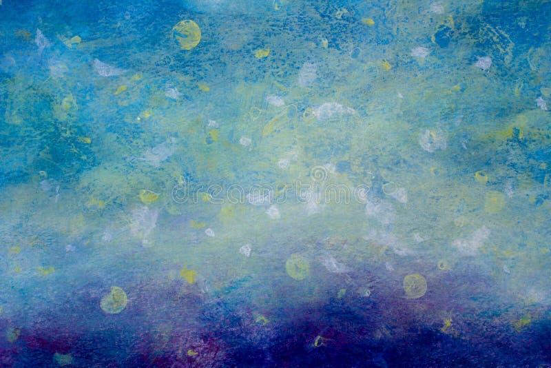 Curso artístico da escova da pintura acrílica azul estrelado abstrata do óleo do fundo do planeta do céu do cosmos e para chapinh ilustração royalty free
