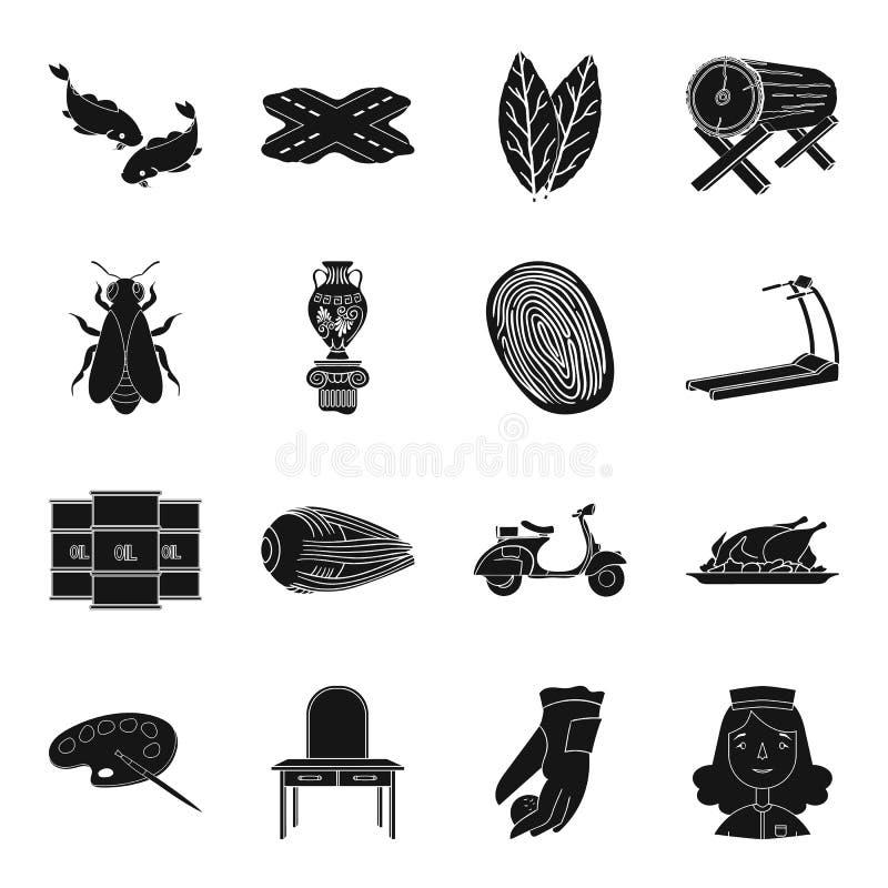 Curso, arte, esporte, aptidão e o outro ícone da Web no estilo preto ilustração stock