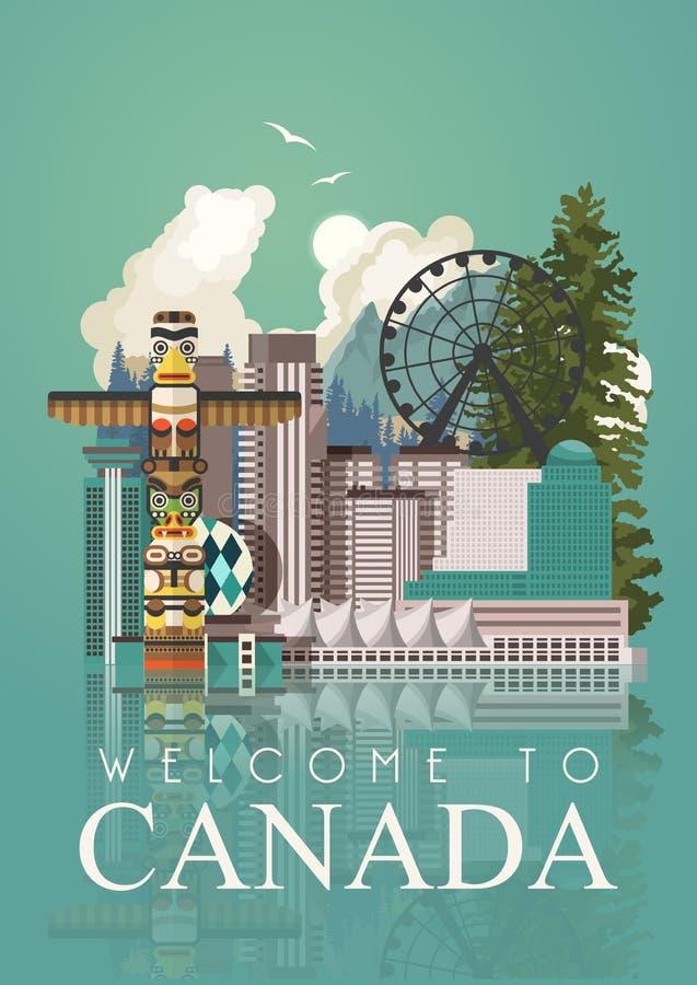 Curso a Canadá postcard Ilustração canadense do vetor Idêntico e paciência Estilo retro Cartão do curso ilustração stock