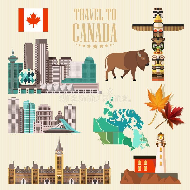 Curso a Canadá Projeto claro Ajuste com cidades canadenses Ilustração canadense do vetor Estilo retro Cartão do curso ilustração stock