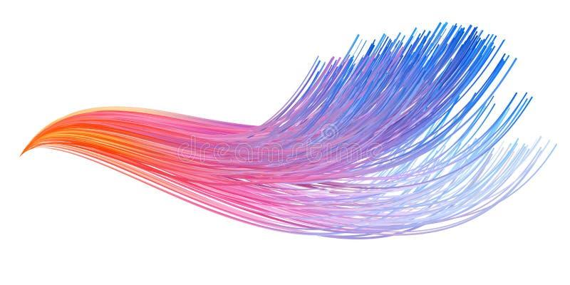 Curso colorido da escova do fluxo Linha isolada fita ilustração stock