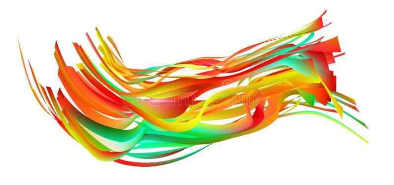 Curso colorido da escova do fluxo Linha isolada mar da onda ilustração stock