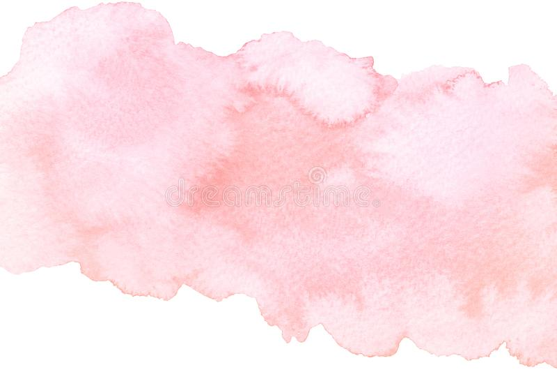 Curso cor-de-rosa abstrato artístico da escova da aquarela isolado no fundo branco imagens de stock royalty free
