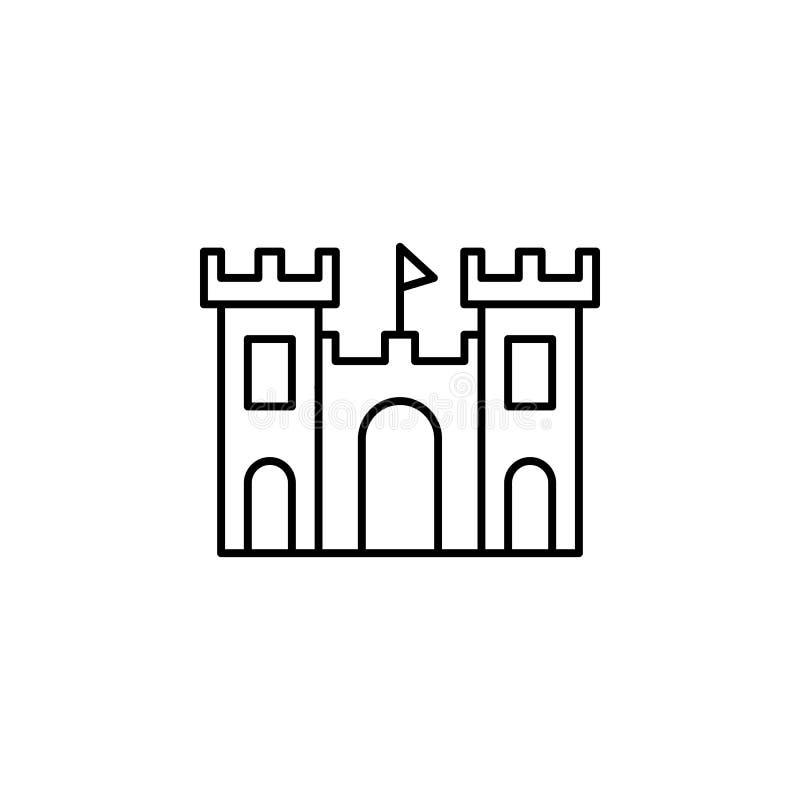 Curso, cubeta, areia, ícone do esboço da pá Elemento da ilustração do curso Os sinais e o ícone dos símbolos podem ser usados par ilustração royalty free