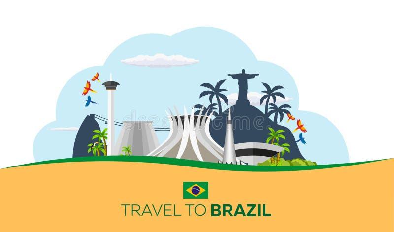 Curso da bandeira a Brasil, Rio de janeiro Skyline do cartaz Ilustração do vetor ilustração royalty free