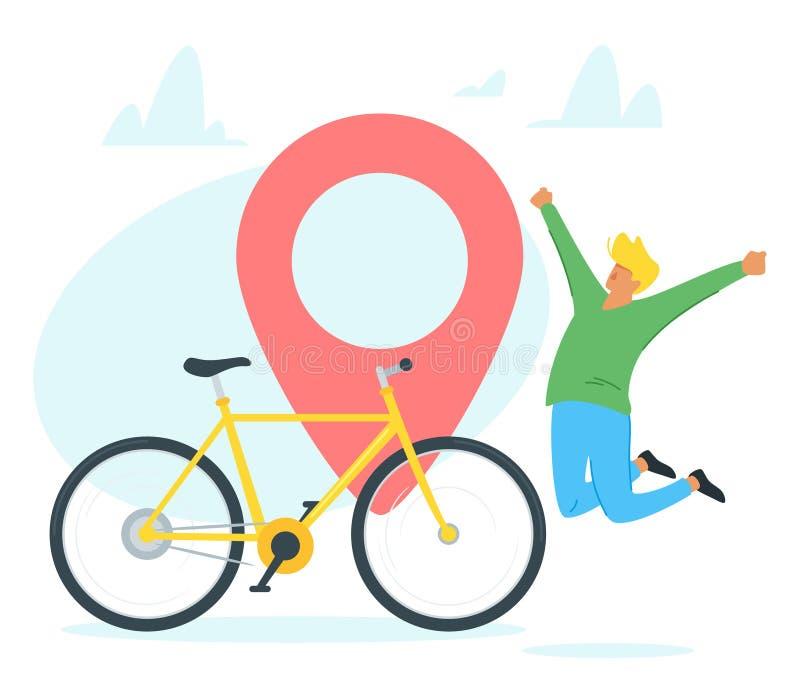 Curso da bicicleta, ilustração do vetor do turismo ilustração stock
