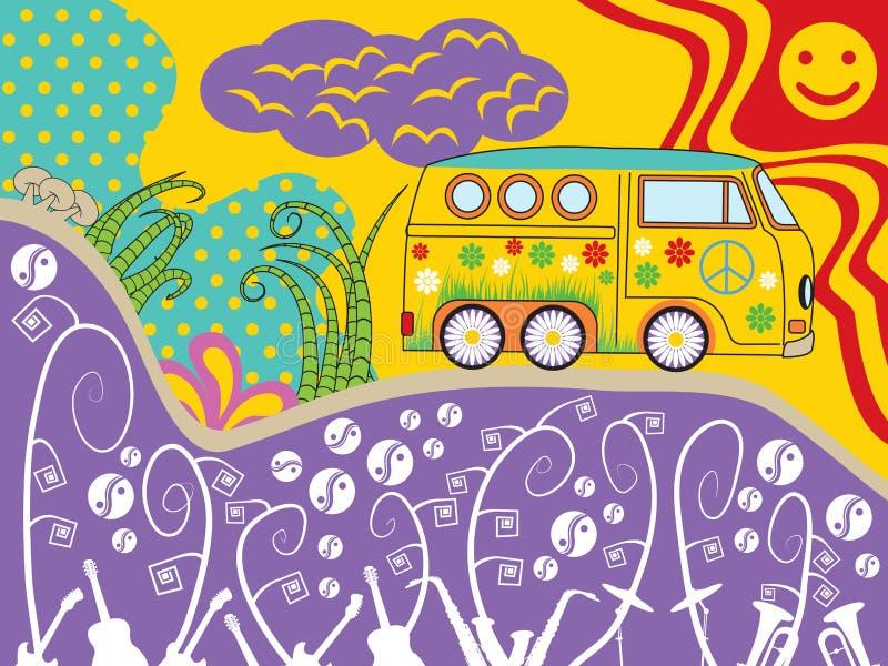 Curso da camionete da hippie ilustração royalty free