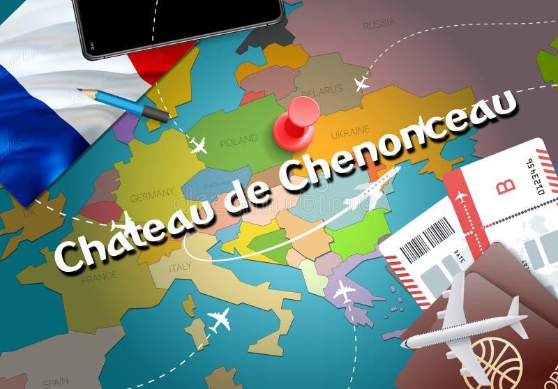 Curso da cidade de Castelo de Chenonceau e concep do destino do turismo ilustração do vetor