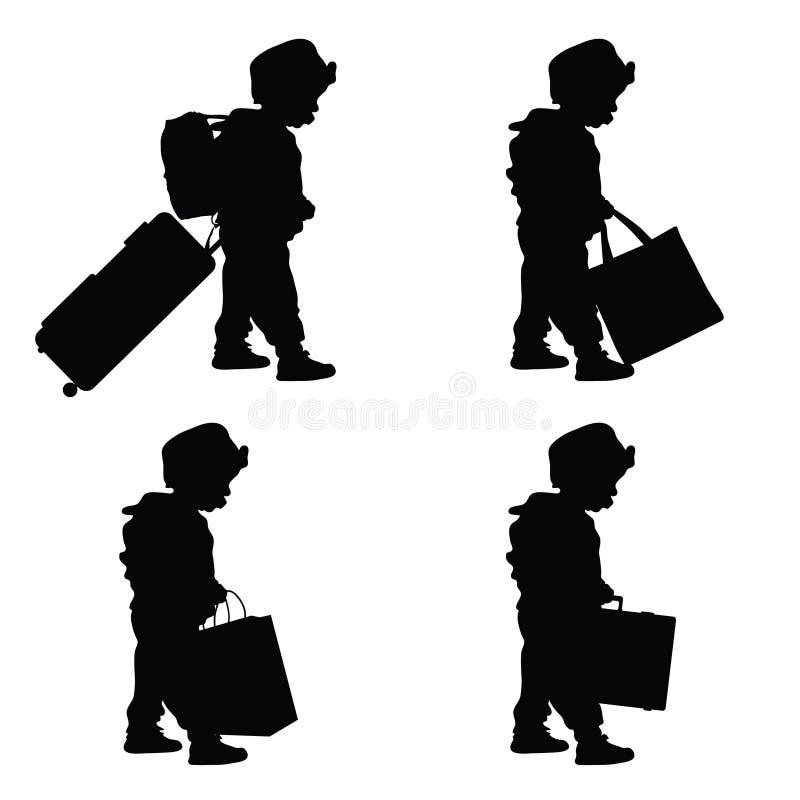 Curso da criança com ilustração ajustada da silhueta do saco ilustração stock