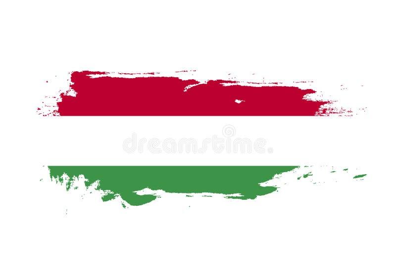 Curso da escova do Grunge com a bandeira nacional de Hungria Bandeira da pintura da aquarela Símbolo, cartaz, bandeira Vetor isol ilustração royalty free