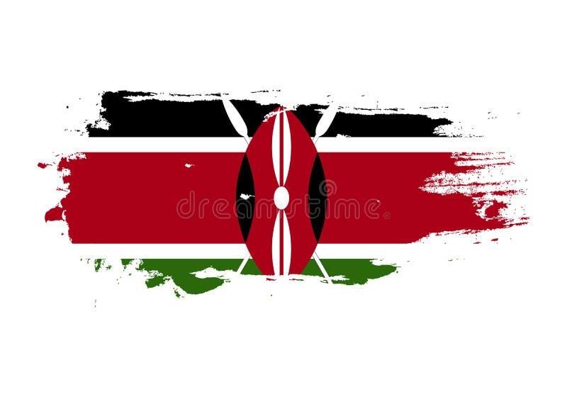 Curso da escova do Grunge com a bandeira nacional de Kenya Bandeira da pintura da aquarela Símbolo, cartaz, bandeira Vetor isolad ilustração stock