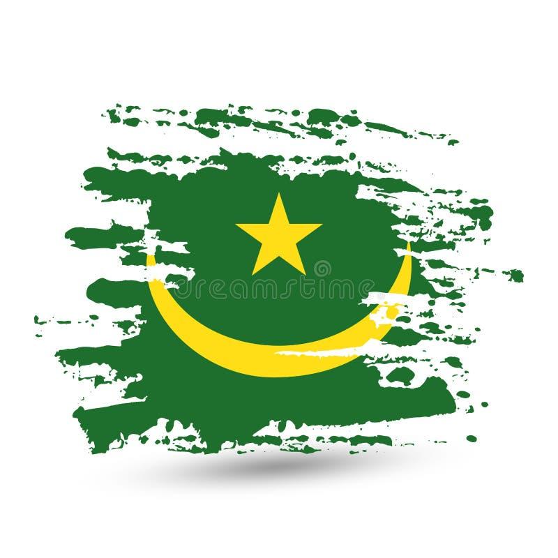 Curso da escova do Grunge com a bandeira nacional de Mauritânia ilustração do vetor
