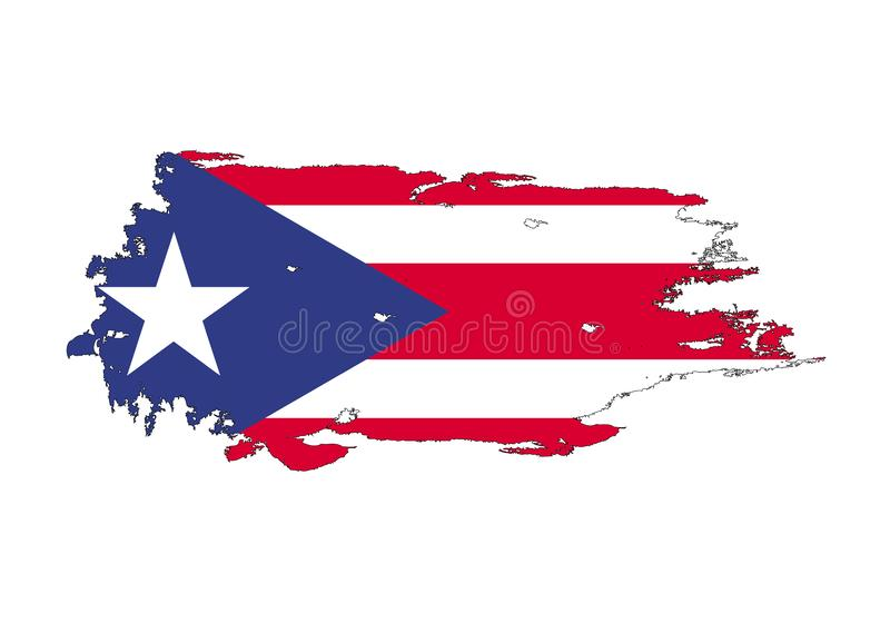 Curso da escova do Grunge com a bandeira nacional de Porto Rico Bandeira da pintura da aquarela Símbolo, cartaz, bandeira Vetor i ilustração royalty free