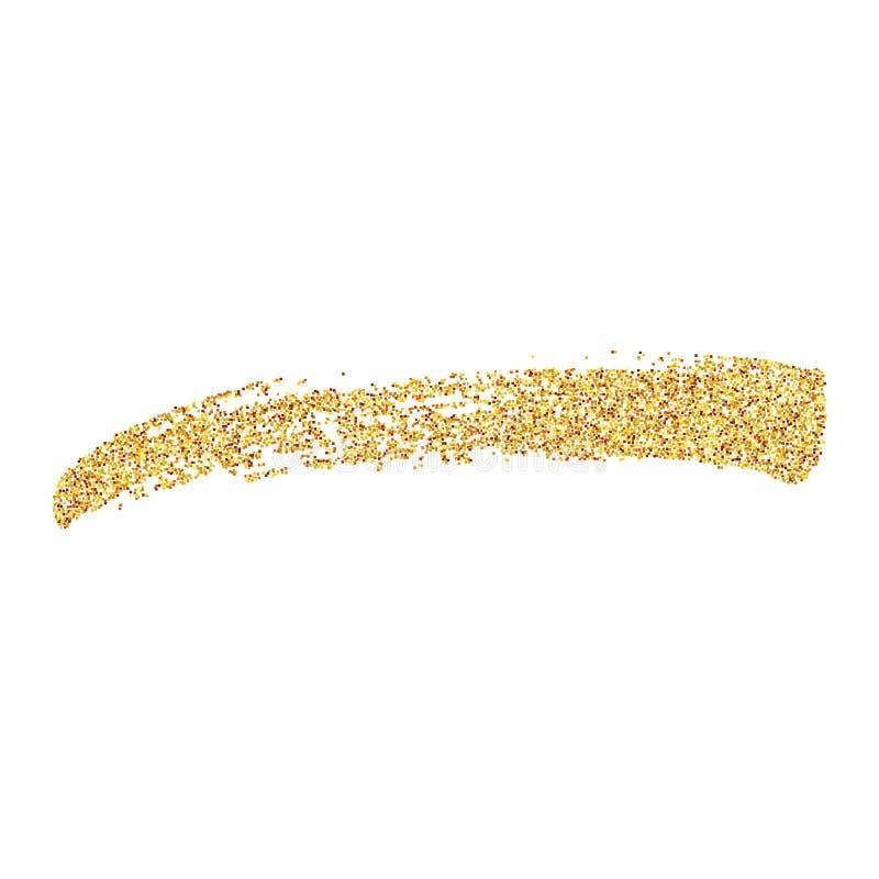 Curso da escova do ouro do brilho Ilustração do curso tirado mão da escova do ouro Elemento do projeto do vetor ilustração stock