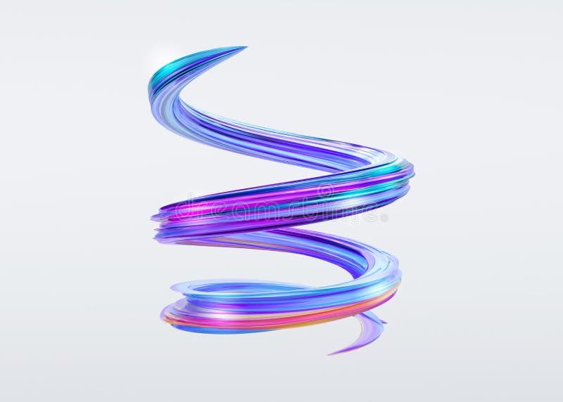 curso da escova do sumário 3D Respingo colorido na moda da pintura ilustração do vetor